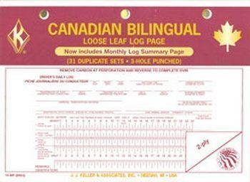 J.J. Keller 14MP Canadian 31 Day Loose Leaf Driver's Daily Log Book Sheets - Bilingual