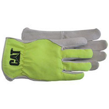 Boss / Cat Gloves CAT012109L Grain Pigskin Glove with Fluorescent Back Large